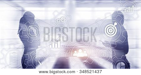 Business process automation concept. Gears and icons on abstract background. stock photo