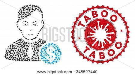 Mosaic commercial loyer icon and red round grunge stamp watermark with Taboo phrase and coronavirus symbol. Mosaic vector is composed with commercial loyer icon and with scattered elliptic items. stock photo