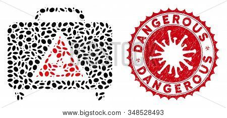 Mosaic dangerous luggage icon and red rounded distressed stamp seal with Dangerous phrase and coronavirus symbol. Mosaic vector is designed with dangerous luggage icon and with random elliptic spots. stock photo