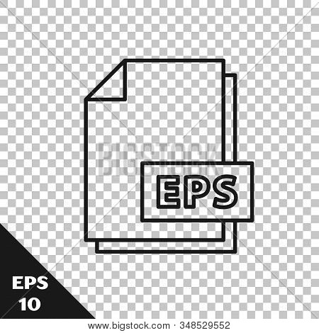Black line EPS file document. Download eps button icon isolated on transparent background. EPS file symbol. Vector Illustration stock photo