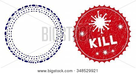 Mosaic dotted round frame icon and red rounded corroded stamp seal with Kill caption and coronavirus symbol. Mosaic vector is composed with dotted round frame icon and with randomized ellipse spots. stock photo