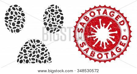 Mosaic fear smiley icon and red rounded distressed stamp watermark with Sabotaged phrase and coronavirus symbol. Mosaic vector is designed with fear smiley icon and with randomized oval spots. stock photo