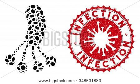 Mosaic infection microbe icon and red round distressed stamp seal with Infection caption and coronavirus symbol. Mosaic vector is formed with infection microbe icon and with randomized oval elements. stock photo