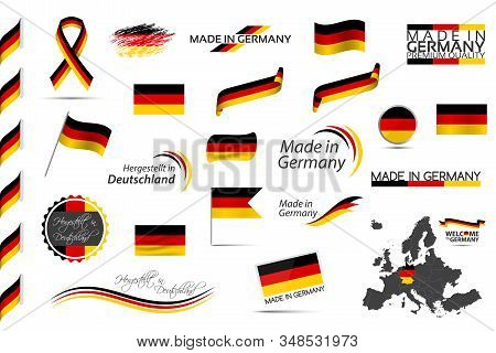 Big vector set of German ribbons, symbols, icons and flags isolated on a white background, Made in Germany, Welcome to Germany, premium quality, German tricolor, set for your infographics and templates stock photo