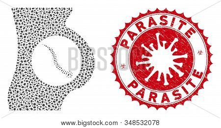Mosaic intestinal parasite icon and red round grunge stamp watermark with Parasite caption and coronavirus symbol. stock photo