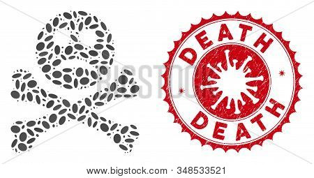 Collage sad death icon and red round distressed stamp seal with Death text and coronavirus symbol. Mosaic vector is designed with sad death icon and with scattered ellipse elements. stock photo