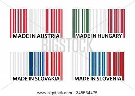 Set of four bar code symbols Made in Austria, Made in Hungary, Made in Slovakia and Made in Slovenia, simple icons, Austrian flag, Hungarian flag, Slovak flag and Slovenian flag isolated on a white background stock photo
