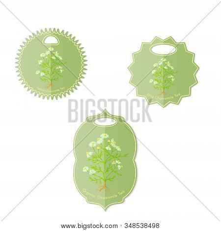 Set with Three Labels for Chamomile Tea stock photo