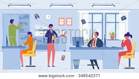 Professional Accounting Services. Account Management and Financial Activities, Tax Reporting. Businessman Client Referring to Accountants Assistance and Consultation. Flat Cartoon Vector Illustration. stock photo