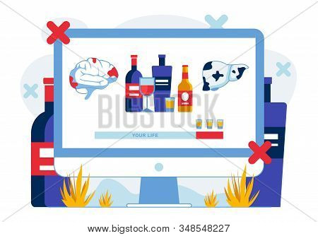 Alcohol Influence on Human Health Illustration. Alcoholic Beverages Consumption Damaging Brain and Liver. Fighting Alcoholism Internet Campaign. Alcohol Addiction Problem Awareness stock photo