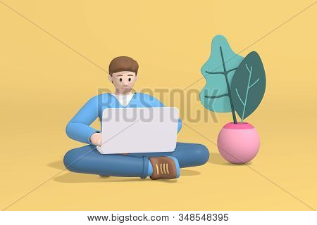 3d rendering character of a young guy with a beard, a student or businessman is successfully planning an organization of work. Abstract minimal trendy cartoon disproportionate body man concept. stock photo