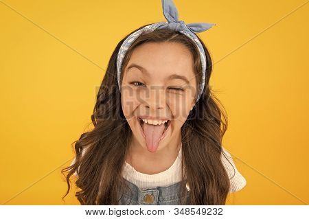 This how happiness looks like. Happy smiling kid girl close up face. Emotional expression. Express happiness. Emotional child concept. Mental health. Positive emotions. Cheerful teen. Feel happiness. stock photo