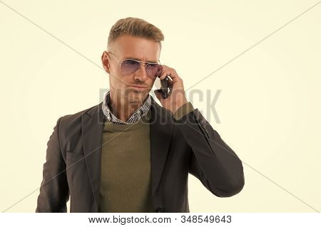 Serious conversation. Nothing personal just business. Man control business phone call. Businessman call smartphone delegation task. Business communication. Successful call mobile conversation. stock photo