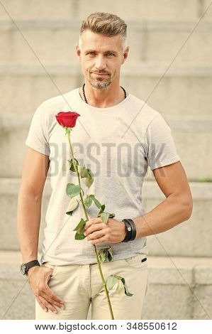 How to be romantic. Romantic gentleman. Man mature confident macho with romantic gift. Handsome guy with rose flower romantic date. Valentines day and anniversary. Flowers delivery. Dating services. stock photo