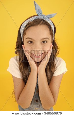 Emotional child concept. Mental health. Positive emotions. Cheerful teen. Feel happiness. This how happiness looks like. Happy smiling kid girl close up face. Emotional expression. Express happiness. stock photo