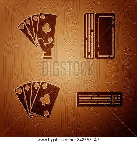 Set Deck of playing cards, Hand holding playing cards, Playing cards and Deck of playing cards on wooden background. Vector stock photo