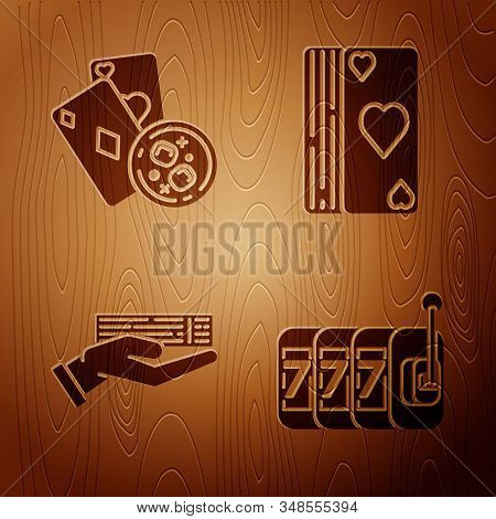 Set Slot machine with lucky sevens jackpot, Playing cards and glass of whiskey with ice cubes, Hand holding deck of playing cards and Deck of playing cards on wooden background. Vector stock photo