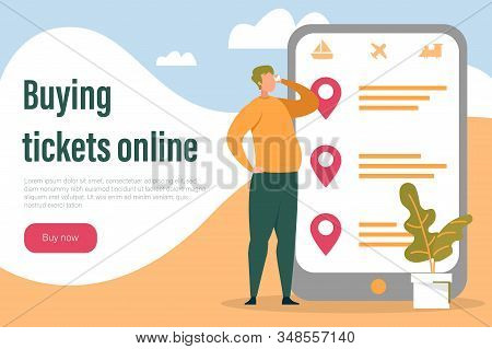 Online Tickets Buying and Internet Booking Services. Man Cartoon Character Purchasing Entertainment or Transport Ticket Using Computer Technology and Mobile Application. Flat Vector Illustration. stock photo