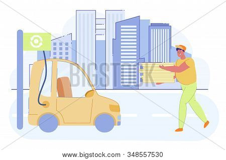 Delivery Man Holding Boxes with Pizza and Going towards Electro Car Flat Cartoon Vector Illustration. Electric Car in Refill. Eco Friendly Transport. New Technology. Charging Vehicle at E-station. stock photo