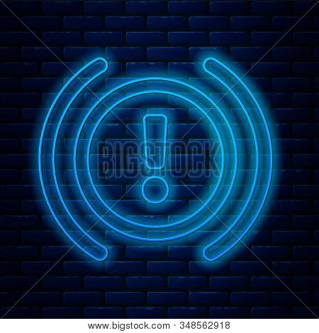 Glowing neon line Brake system warning icon isolated on brick wall background. Exclamation mark in the car. Dashboard attention sign. Vector Illustration stock photo