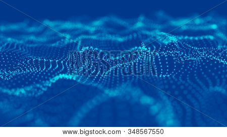 Wave 3d. Wave of particles. Abstract Blue Geometric Background. Big data visualization. Data technology abstract futuristic illustration. 3d rendering. stock photo