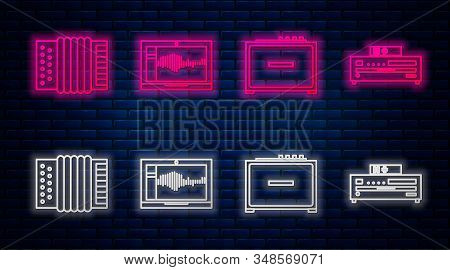 Set line Sound or audio recorder on laptop, Guitar amplifier, Musical instrument accordion and Music CD player. Glowing neon icon on brick wall. Vector stock photo