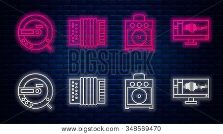 Set line Musical instrument accordion, Guitar amplifier, Music CD player and Sound or audio recorder on monitor. Glowing neon icon on brick wall. Vector stock photo