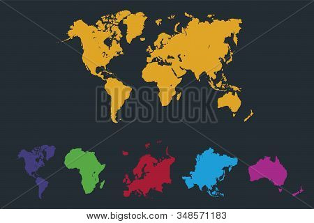 Infographics World continents map, America, Europe, Africa, Asia, Australia, orange pointer, dark background blank stock photo