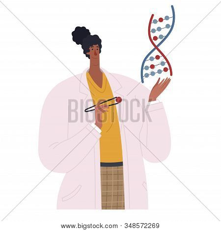 African American biologist scientist holding dna spiral in her hands. Geneticist african american woman sequencing dna molecule stock photo