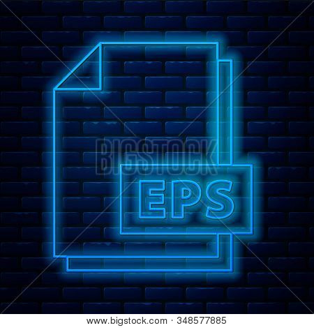 Glowing neon line EPS file document. Download eps button icon isolated on brick wall background. EPS file symbol. Vector Illustration stock photo