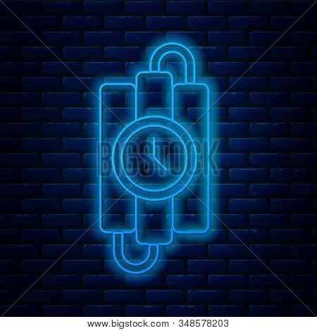Glowing neon line Detonate dynamite bomb stick and timer clock icon isolated on brick wall background. Time bomb - explosion danger concept. Vector Illustration stock photo