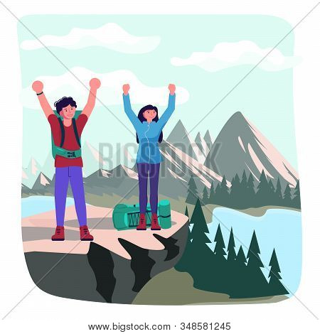 Hiking trekking people. Happy man and woman backpackers hikers travel together and enjoy their achievements on a cliff above the river. Adventure and camping in nature. Flat Art Vector Illustration stock photo