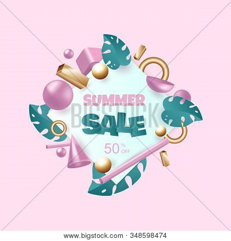 Hello Summer, summer time, summer day, summer day background, summer banners, summer flyer, summer design, summer with people in the pool. 3d background. 3d rendered illustration with flying geometric shapes and tropical leaves. Background for product des stock photo