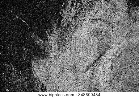 Wall panel grunge black or dark grey concrete background.Backdrop Dirty,dust black wall concrete,cement blackboard texture and splash white color brush stroke for architecture or abstract background. stock photo