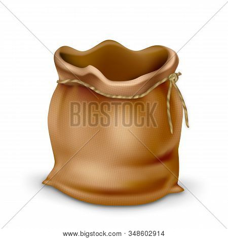 Empty Vintage Fabric Bag Purse For Coins Vector. Antique Canvas Bag With Rope Accessory For Saving Money. Ancient Textile Sack Or Pouch, Finance Economic Concept Layout 3d Illustration stock photo