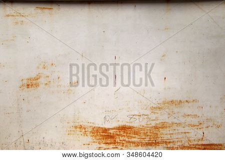 Old rusty white metal background,abstract texture, Corroded white metal background, Rusty white painted metal wall. stock photo