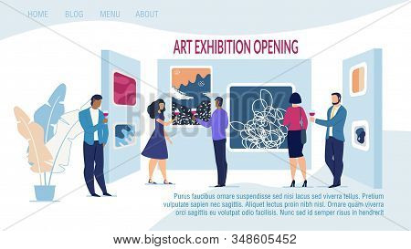 Responsive Landing Page Template Advertising Art Exhibition Opening with Contemporary Artwork. Museum and Gallery with Abstract Creative Artistic Work and People Drinking Alcohol. Vector Illustration stock photo
