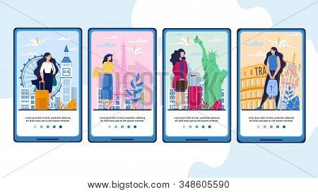 Mobile Travel App with Female Tourist on Vacation, Business Trip, Voyage through Europe. Booking Aircraft Tickets Online. Tour Agency Service. Onboard Phone Screens Design Set with Happy Travelers stock photo