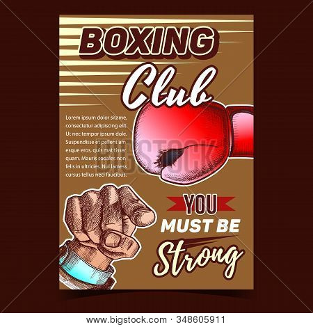 Boxing Sportive Club Advertising Banner Vector. Box Glove With Elastic Cuffs And Padded Protects Knuckles And Man Hand Pointing Gesture. Template Designed In Vintage Style Color Illustration stock photo