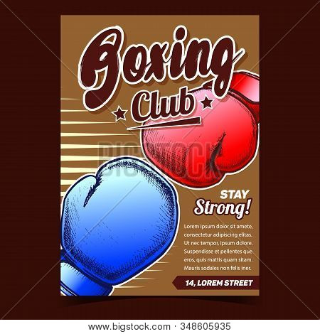 Boxing Sportive Club Advertising Poster Vector. Boxer Protective Hand Sportive Equipment Gloves For Fighting. Box Accessory Template Designed In Vintage Style Colorful Illustration stock photo