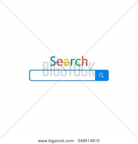 Search bar field. Simple browser window isolated on white background. Browser search. Interface element with search button. Search Bar for UI. Address panel in web. Data search. Frame web site. Vector stock photo