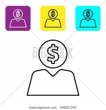 Black line Business man planning mind icon isolated on white background. Human head with dollar. Idea to earn money. Business investment growth. Set icons colorful square buttons. Vector Illustration stock photo