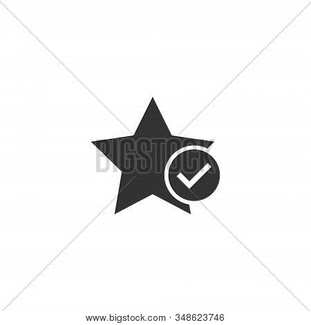 Check mark with star icon in flat style. Add to favorite vector illustration on white isolated background. Bookmark business concept. stock photo