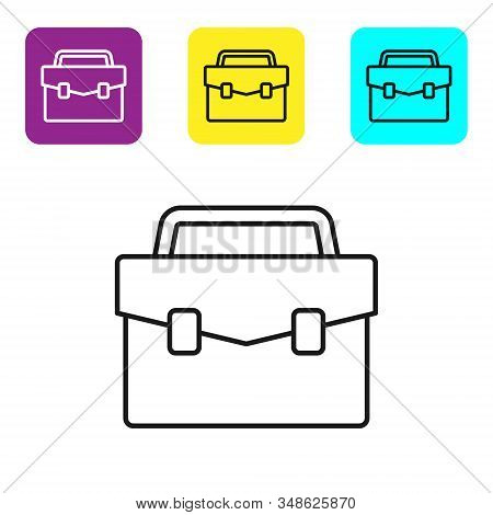 Black line Briefcase icon isolated on white background. Business case sign. Business portfolio. Set icons colorful square buttons. Vector Illustration stock photo