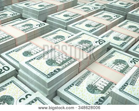 American currency background. Dollars of United States of America. US Dollars background. 3d illustration stock photo