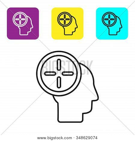 Black line Head hunting concept icon isolated on white background. Business target or Employment. Human resource and recruitment for business. Set icons colorful square buttons. Vector Illustration stock photo