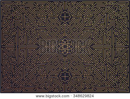 Vector abstract golden background with arabic motifs. Art deco wedding, party pattern, geometric stock photo