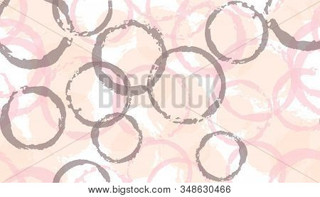 Modern watercolor circles geometry fabric print. Round shape blot overlapping elements vector seamless pattern. Paint texture circles geometry fabric design. stock photo