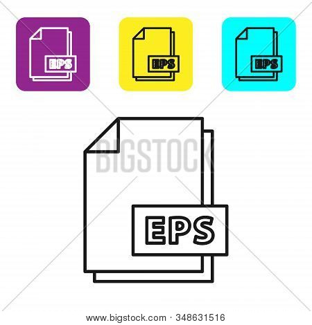 Black line EPS file document. Download eps button icon isolated on white background. EPS file symbol. Set icons colorful square buttons. Vector Illustration stock photo