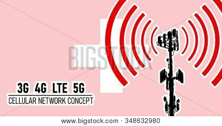 Cellular mobile tower - connection network concept for Switzerland, vector illustration of 3g 4g LTE and 5g dangerous waves from the cell tower, risk of 5G idea in colors red, white stock photo